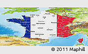 Flag Panoramic Map of France, physical outside