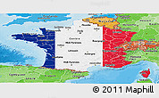 Flag Panoramic Map of France, political shades outside