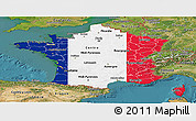 Flag Panoramic Map of France, satellite outside