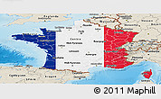 Flag Panoramic Map of France, shaded relief outside
