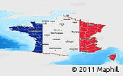 Flag Panoramic Map of France, single color outside, bathymetry sea