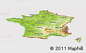 Physical Panoramic Map of France, cropped outside