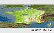 Physical Panoramic Map of France, darken