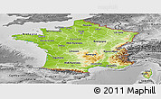 Physical Panoramic Map of France, desaturated