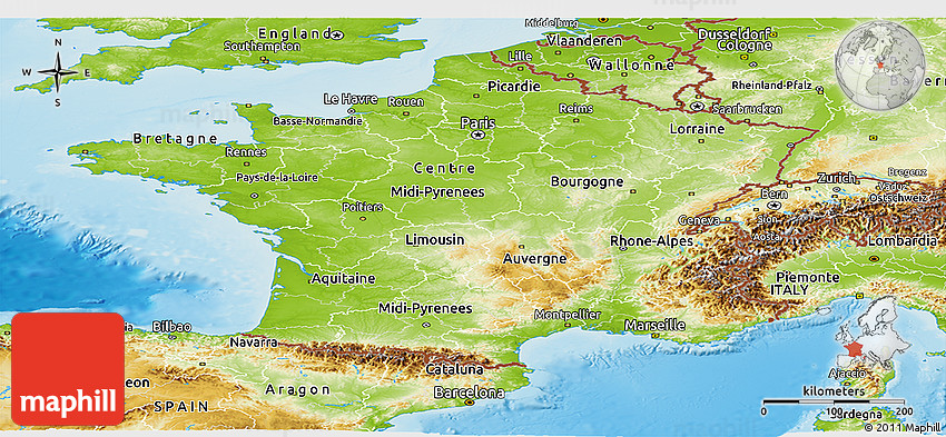 Physical Panoramic Map of France