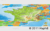 Physical Panoramic Map of France, political outside, shaded relief sea