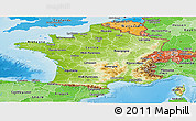 Physical Panoramic Map of France, political shades outside, shaded relief sea
