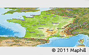Physical Panoramic Map of France, satellite outside, shaded relief sea