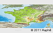 Physical Panoramic Map of France, semi-desaturated, land only