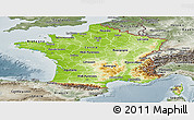 Physical Panoramic Map of France, semi-desaturated