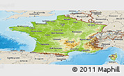 Physical Panoramic Map of France, shaded relief outside