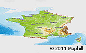 Physical Panoramic Map of France, single color outside