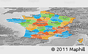 Political Panoramic Map of France, desaturated