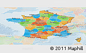 Political Panoramic Map of France, lighten