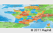 Political Panoramic Map of France, political shades outside