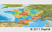 Political Panoramic Map of France, satellite outside, bathymetry sea