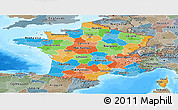 Political Panoramic Map of France, semi-desaturated, land only