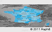 Political Shades Panoramic Map of France, darken, desaturated