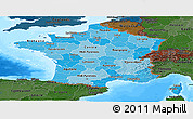 Political Shades Panoramic Map of France, darken, land only