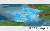 Political Shades Panoramic Map of France, darken