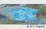 Political Shades Panoramic Map of France, darken, semi-desaturated