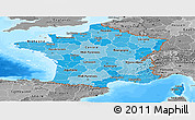 Political Shades Panoramic Map of France, desaturated, land only