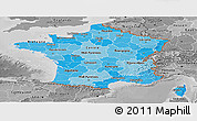 Political Shades Panoramic Map of France, desaturated