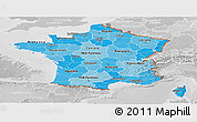 Political Shades Panoramic Map of France, lighten, desaturated