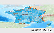 Political Shades Panoramic Map of France, lighten, land only