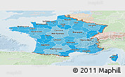 Political Shades Panoramic Map of France, lighten