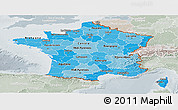 Political Shades Panoramic Map of France, lighten, semi-desaturated
