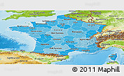 Political Shades Panoramic Map of France, physical outside