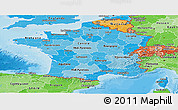 Political Shades Panoramic Map of France