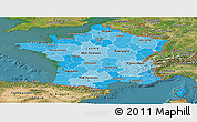 Political Shades Panoramic Map of France, satellite outside