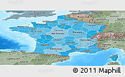 Political Shades Panoramic Map of France, semi-desaturated, land only