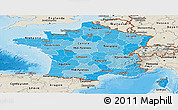 Political Shades Panoramic Map of France, shaded relief outside, bathymetry sea