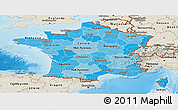 Political Shades Panoramic Map of France, shaded relief outside