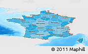 Political Shades Panoramic Map of France, single color outside, bathymetry sea