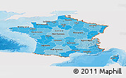 Political Shades Panoramic Map of France, single color outside