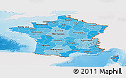 Political Shades Panoramic Map of France, single color outside, shaded relief sea