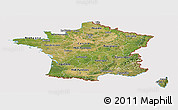 Satellite Panoramic Map of France, cropped outside
