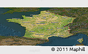 Satellite Panoramic Map of France, darken