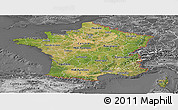 Satellite Panoramic Map of France, desaturated