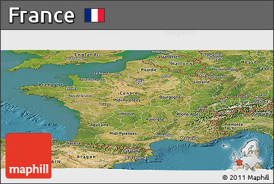 Satellite Panoramic Map of France