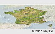 Satellite Panoramic Map of France, lighten