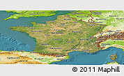 Satellite Panoramic Map of France, physical outside, satellite sea