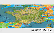 Satellite Panoramic Map of France, political outside, satellite sea
