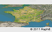 Satellite Panoramic Map of France, semi-desaturated, land only