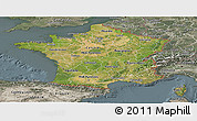 Satellite Panoramic Map of France, semi-desaturated