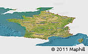 Satellite Panoramic Map of France, single color outside